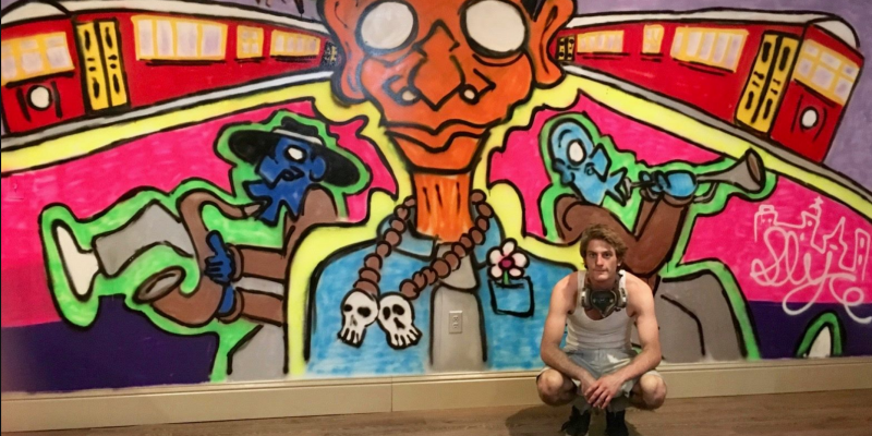 Joey the graffiti artist at City House Hostel New Orleans
