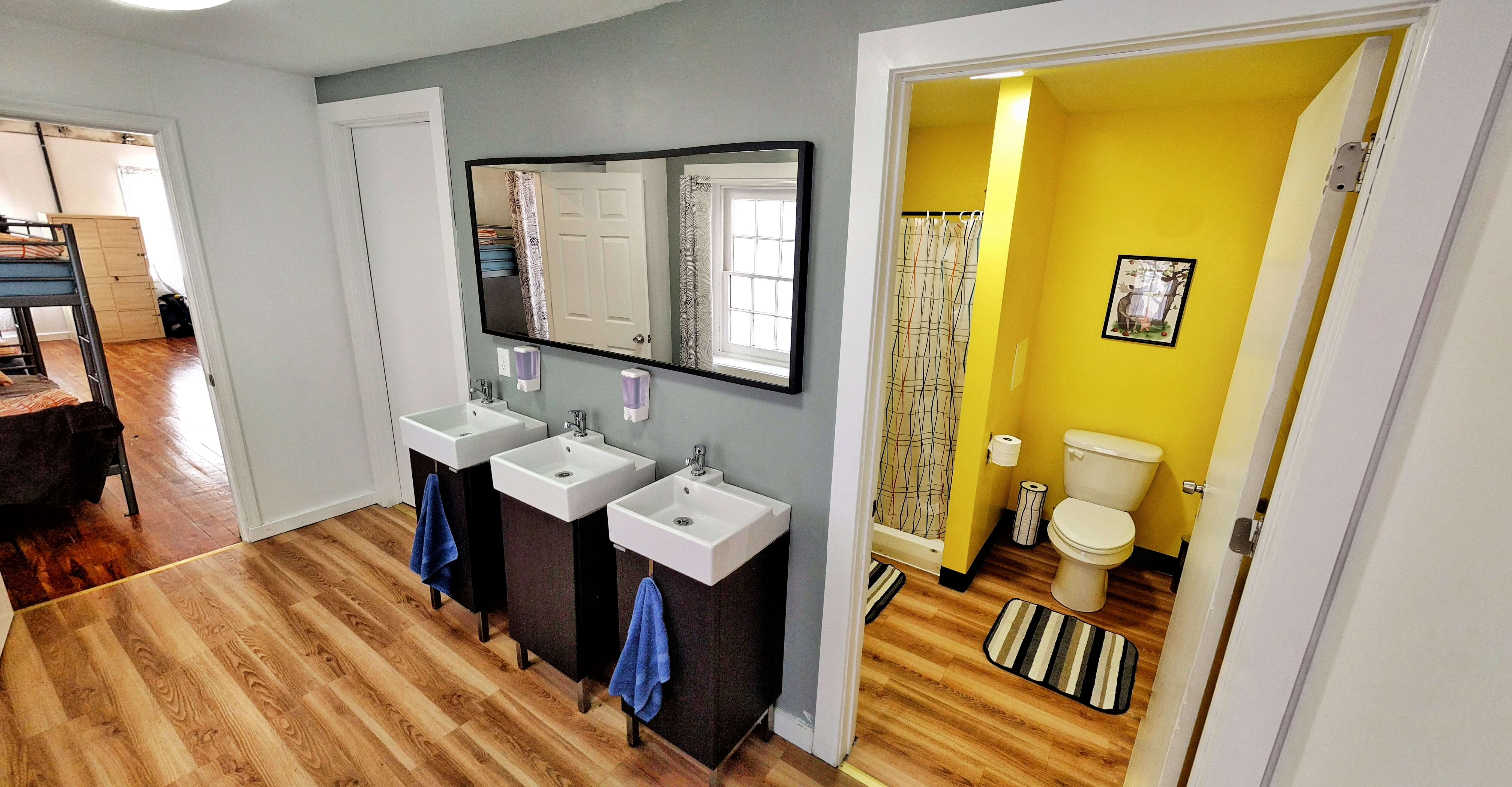 Clean spacious bathrooms City House Hostel Philadelphia